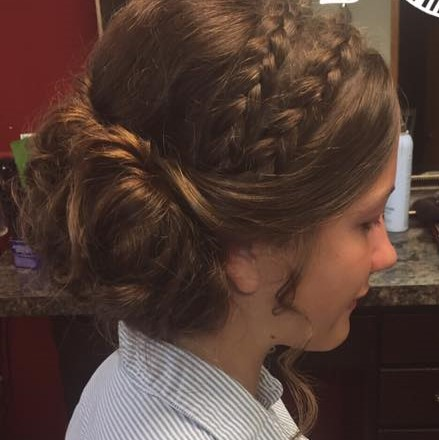 Double braid to low bun updo by Greer